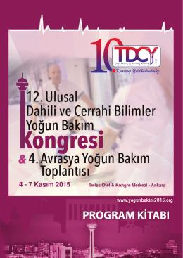 program kitabı - Türk Dahili ve Cerrahi Yoğun Bakım Derneği