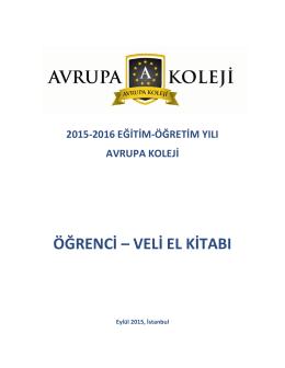 veli el kitabı - Avrupa Koleji