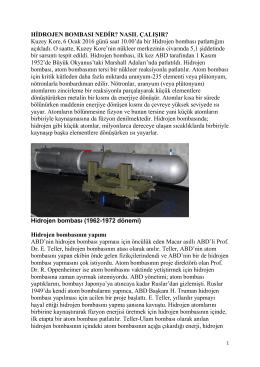 HİDROJEN BOMBASI NEDİR? NASIL ÇALIŞIR? Kuzey Kore,6 Ocak
