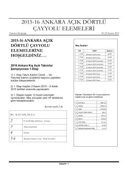 2015-16 ANKARA AÇIK DÖRTLÜ ÇAYYOLU ELEMELERİ