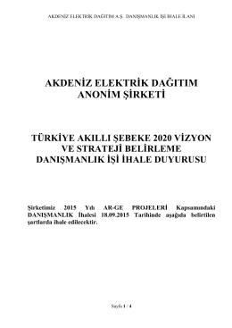 ACIK İHALE USULU - Akdeniz Elektrik Dağıtım A.Ş.
