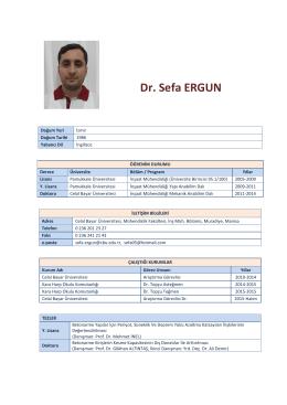 Dr. Sefa ERGUN - İnşaat Mühendisliği