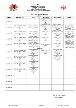 tc mersin üniversitesi iletişim fakültesi gazetecilik bölümü haftalık