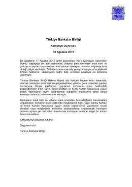 18.08.2015 Basında Çıkan Türkiye Bankalar Birliği Hakem Heyeti