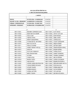 2015-2016 eğitim öğretim yılı 5. sınıf staj grupları