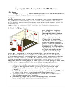 İnergen (Argon) Gazlı Otomatik Yangın Söndürme