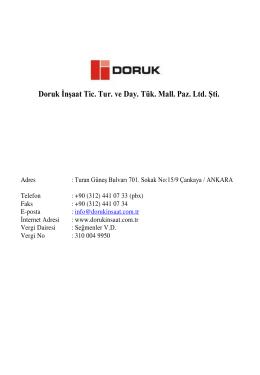 E-Katalog - Doruk İnşaat