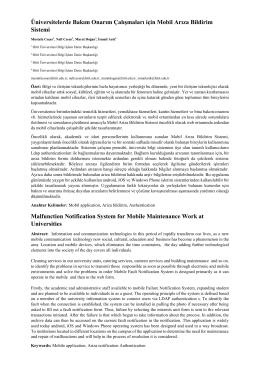 Üniversitelerde Bakım Onarım Çalışmaları için Mobil Arıza - Inet-tr