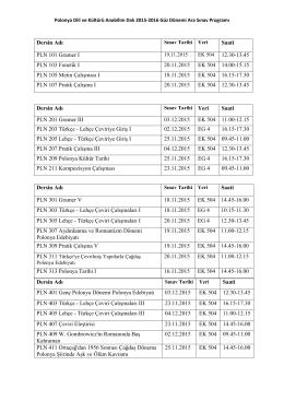 Dersin Adı Saati PLN 201 Gramer III 03.12.2015 EK 504 11.00