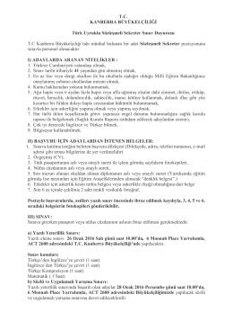 T.C. KANBERRA BÜYÜKELÇİLİĞİ Türk Uyruklu Sözleşmeli Sekreter