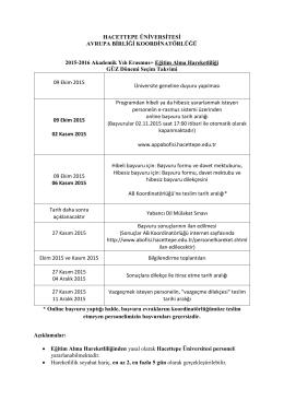 2015-2016 Akademik Yılı Eğitim Alma Hareketliliği Seçim Takvimi