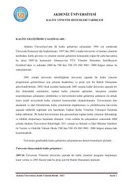 Akdeniz Üniversitesi Kalite Yönetim Sistemleri Tarihçesi