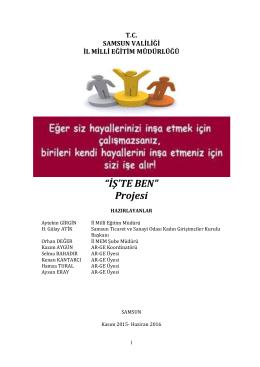 """""""İŞ`TE BEN"""" Projesi - Samsun Milli Eğitim Müdürlüğü"""