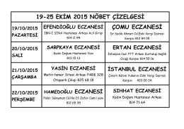 19-25 EKİM 2015 NÖBET ÇİZELGESİ ÇOMU ECZANESİ