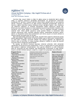 AğBilimi`15 - Ulusal Ağ Bilimi Çalıştayı