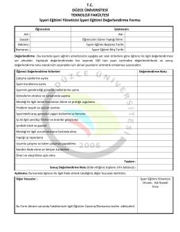 5. İşyeri Yöneticisi Değerlendirme Formu