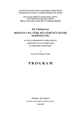 PROGRAM SIMPOZION TURCO-ROMAN [Bucuresti, 11