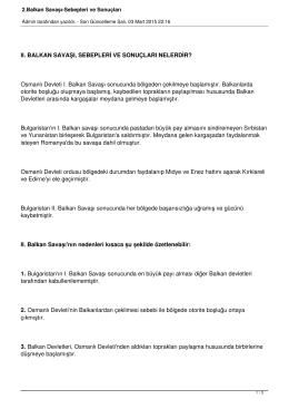 2.Balkan Savaşı-Sebepleri ve Sonuçları