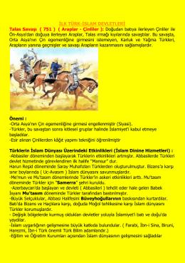 İLK TÜRK-İSLAM DEVLETLERİ Talas Savaşı ( 751