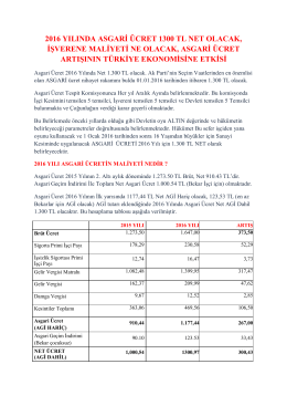 2016 yılında asgari ücret 1300 tl net olacak
