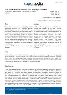 Saçlı Deride Nüks Trikilemmal Kist: Radyolojik Özellikler