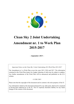 Clean Sky 2 Work Plan