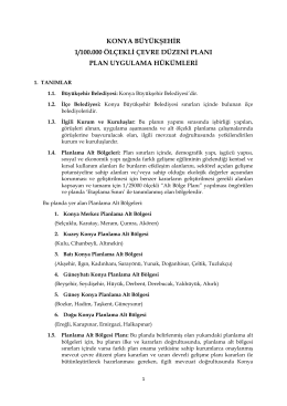 plan uygulama hükümleri - Konya Çevre Düzeni Planı