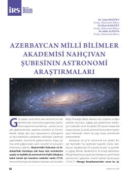 AzerbAycAn mİllİ bİlİmler AkAdemİsİ nAhçıvAn şubesİnın Astronomİ