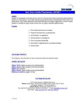 İleri Ürün Kalite Planlaması (APQP)