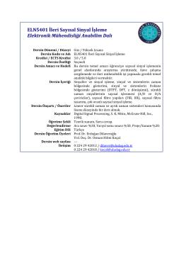 ELN5401 İleri Sayısal Sinyal İşleme Elektronik Mühendisliği