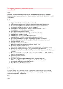 İleri Lojistik ve Tedarik Zinciri Yönetimi Eğitimi (8 gün) 3E-L
