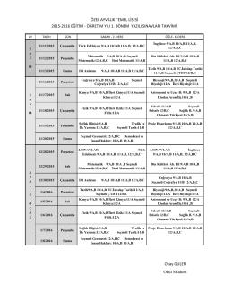 Okay GÜLER Okul Müdürü ÖZEL AYVALIK TEMEL LİSESİ 2015