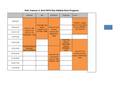 Film Tasarım 3. Sınıf 2015 Güz Haftalık Ders Programı