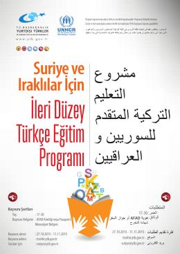 Suriye ve Iraklılar İçin İleri Düzey Türkçe Eğitim Programı