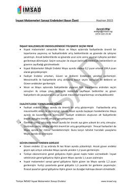 İnşaat Malzemeleri Sanayi Endeksleri Basın Özeti Haziran