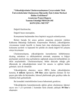 Prof. Dr. M. A. Yekta SARAÇ`ın konuşma metnine ulaşmak için