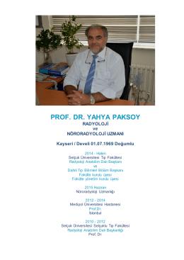 PROF. DR. YAHYA PAKSOY