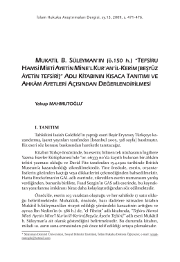 "MUKATL B. SÜLEYMAN`IN (ö.150 h.) ""TEFSRU HAMS M ET AYETN"