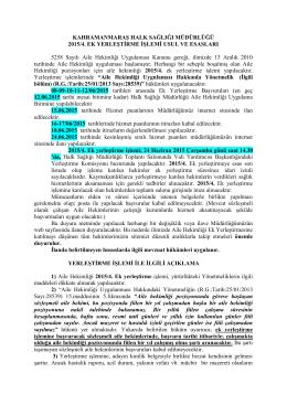 KAHRAMANMARAŞ HALK SAĞLIĞI MÜDÜRLÜĞÜ 2015/4. EK