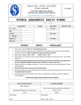 futbol akademisi kayıt formu - Sarıyer Spor Kulübü Futbol Okulu
