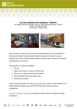 Hilton Garden Inn Trabzon Fact Sheet (Turkish)