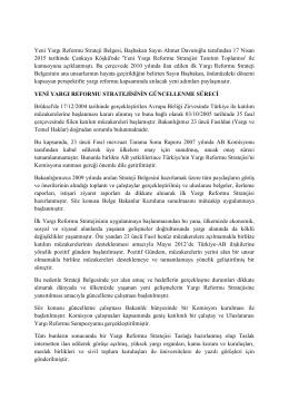 Yeni Yargı Reformu Stratejisi Belgesi Yayınlandı