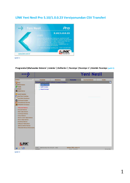 LİNK Yeni Nesil Pro 5.10/1.0.0.23 Versiyonundan CSV Transferi
