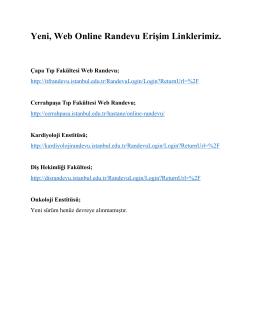 Yeni, Web Online Randevu Erişim Linklerimiz.