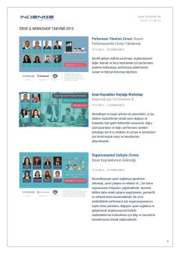 ZİRVE & WORKSHOP TAKVİMİ 2015 Organizasyonel Gelişim Zirvesi