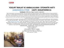 Yogurt İmalat ve ambalajlama otomatik hattı Ganzhom & Stime