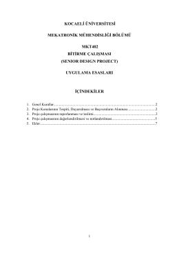 MKT402 Bitirme Çalışması Ugulama Esasları