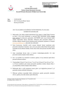 dönem tayini komisyon kararları - Kocaeli Kamu Hastaneleri Birliği