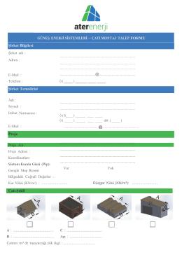 Çatı Montaj Talep Formu