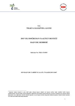 Başvuru Rehberi - Trakya Kalkınma Ajansı